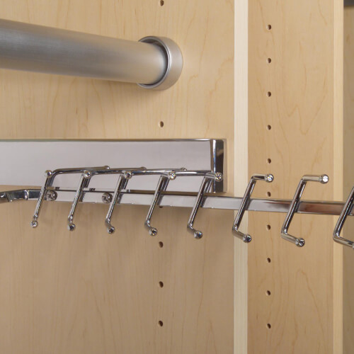 Chrome sliding tie rack