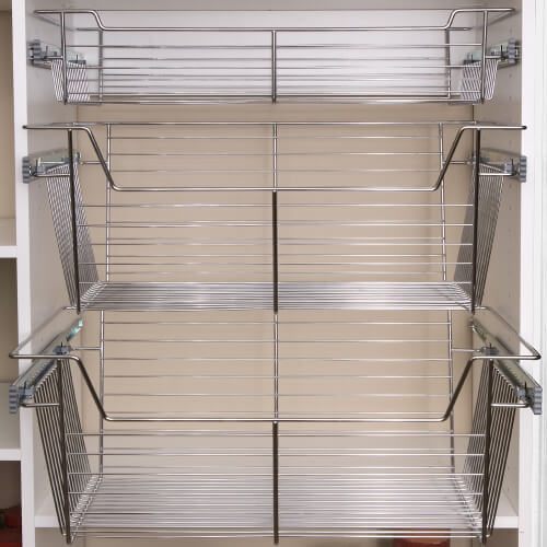 Chrome storage wire sliding baskets