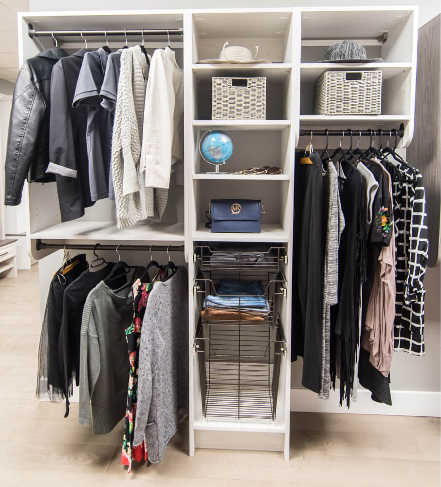 White basic closet system with wire baskets