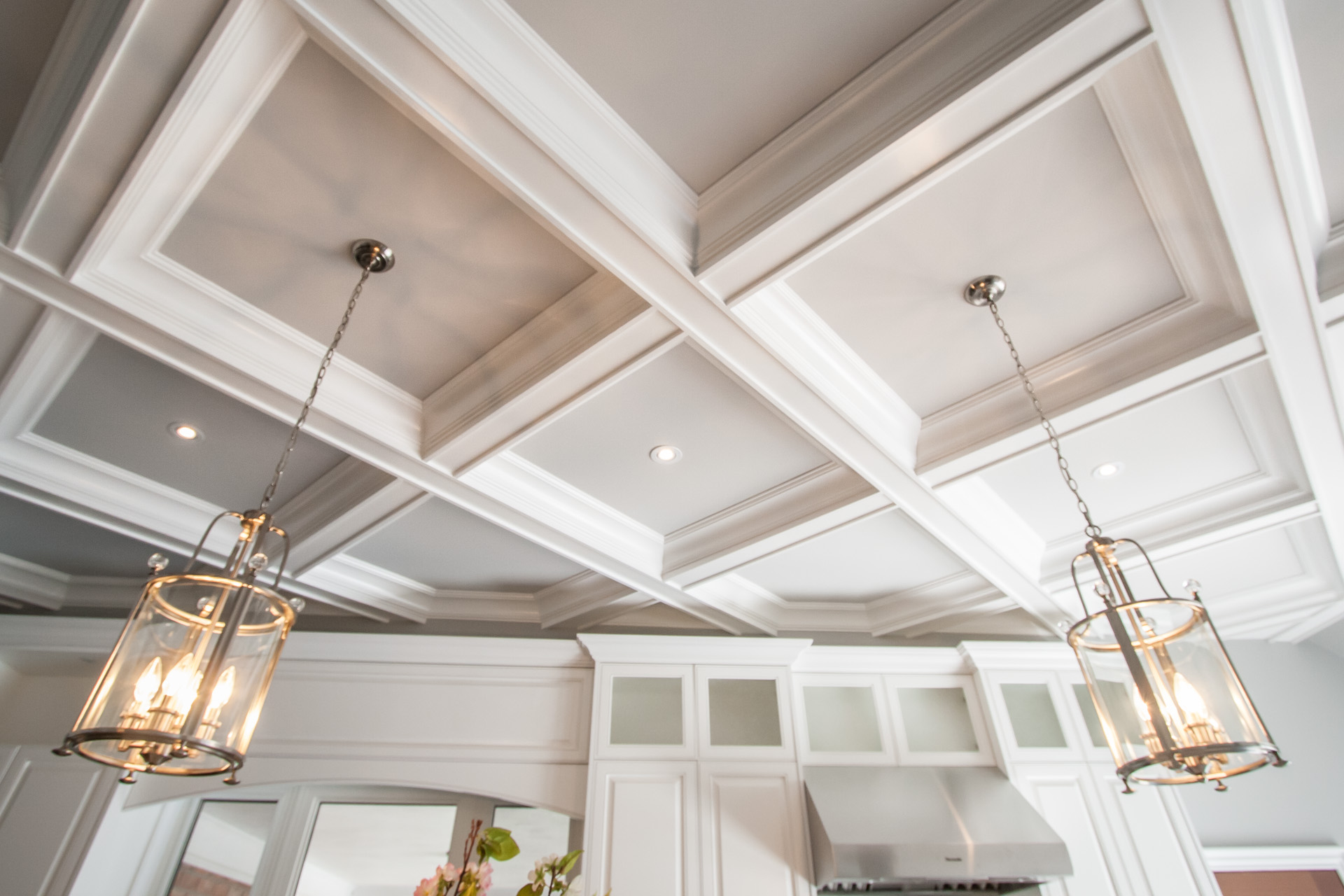 Coffered ceiling in a kitchen