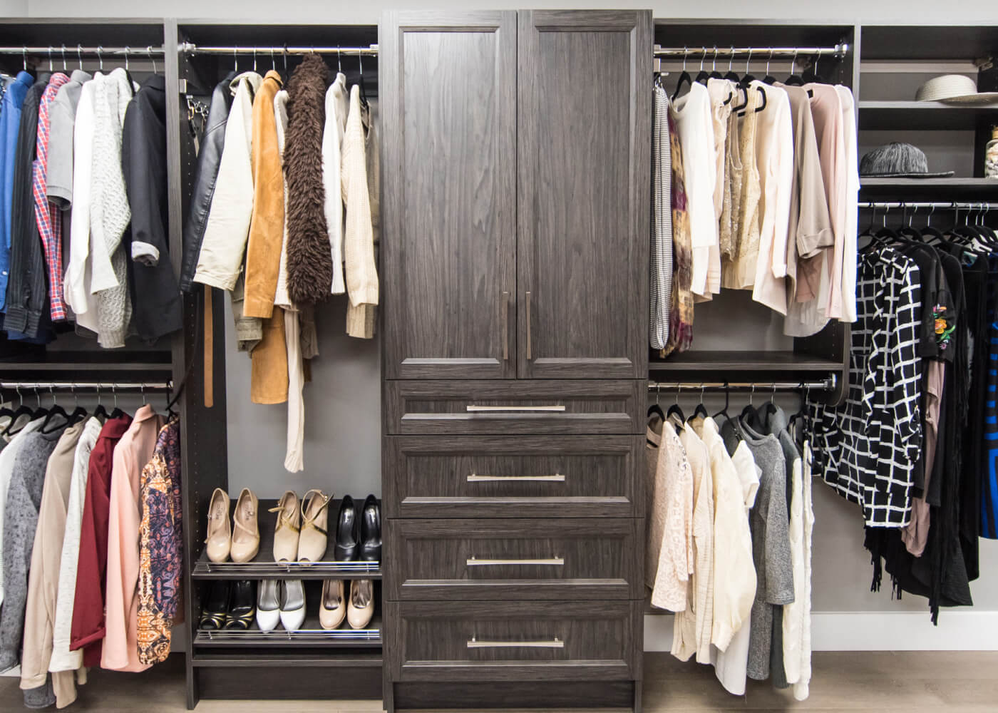 Simple closet system with dark brown melamine fish