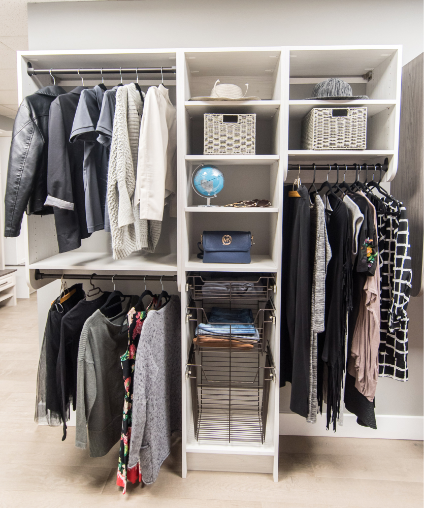 Basic storage closet system with open shelves