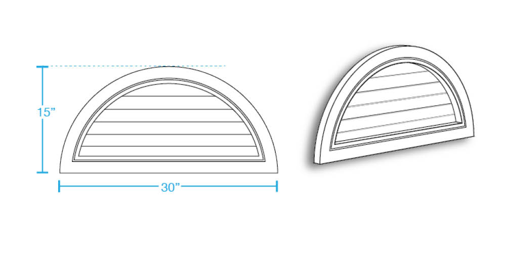 Half Round Closed Louver