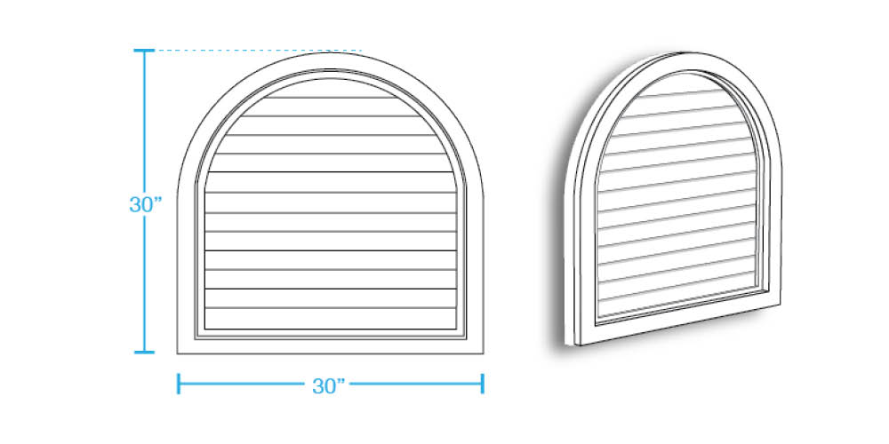 Extended Half Round Closed Louver