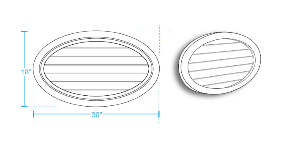 Oval Horizontal Closed Louver