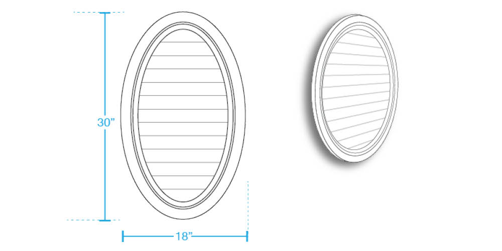 Oval Vertical Closed Louver
