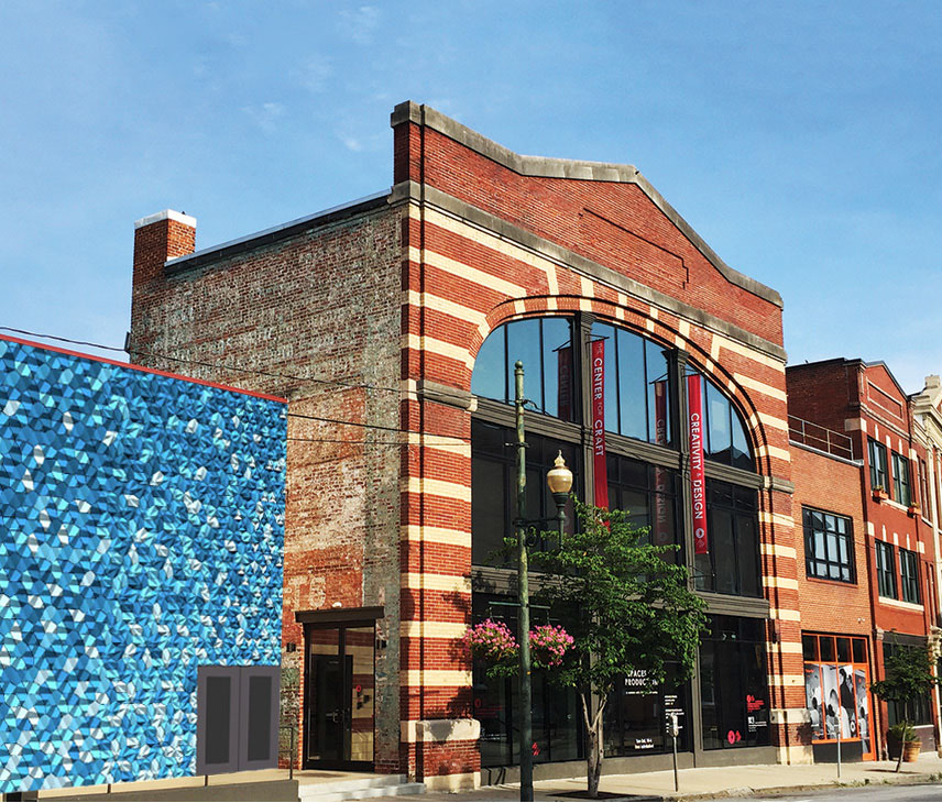 The Center for Craft building with brick facade and blue green tile installation, Liminal.