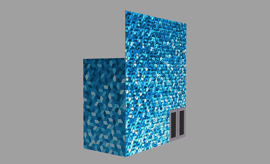 Render of blue and green tiles on the facade of the Center for Craft.