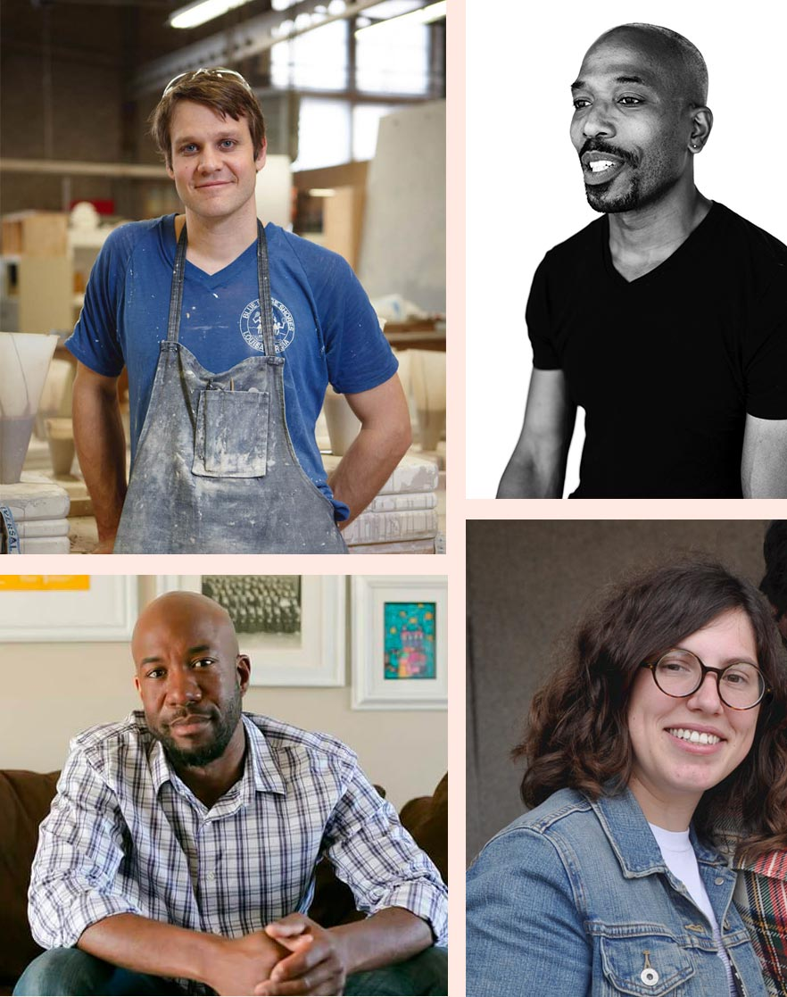 Grid of four photos of installation artists Ian Henderson, David H. Clemons, Jennifer Crescuillo, and Jamil D. Harrison.