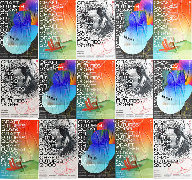 Series of different brightly colored, futuristic posters.