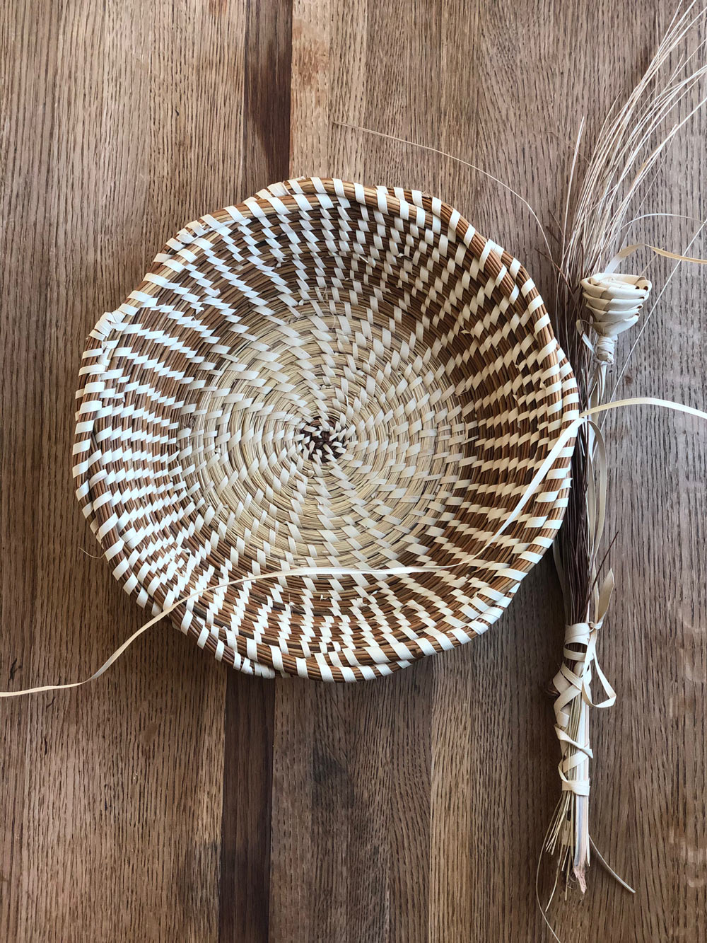Close up on woven basket.
