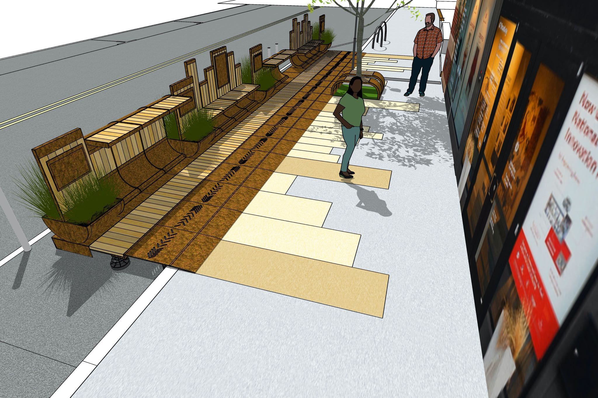 Render of a man and woman on the Cherokee Parklet with green bushes and white oak planks.