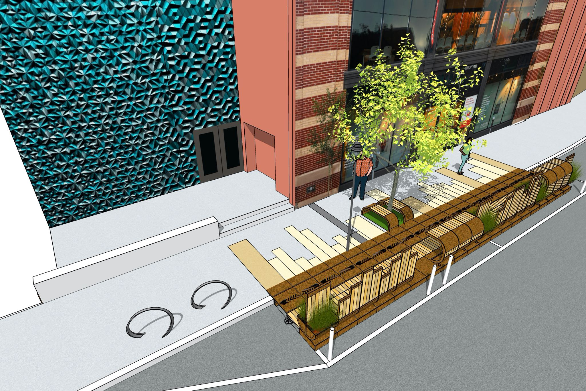 A render of the Cherokee Parklet from above with green bushes, a tree, and white oak planks.