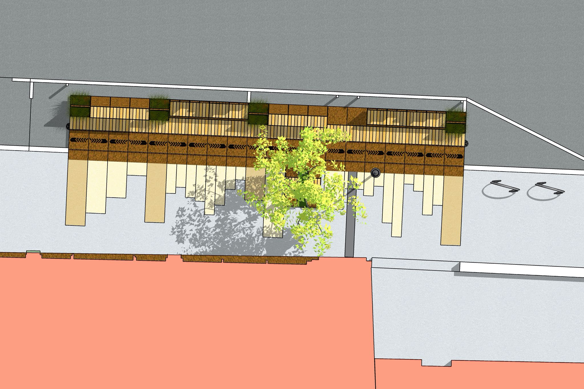 Overhead angle of the Cherokee Parklet with white oak planks and tree.