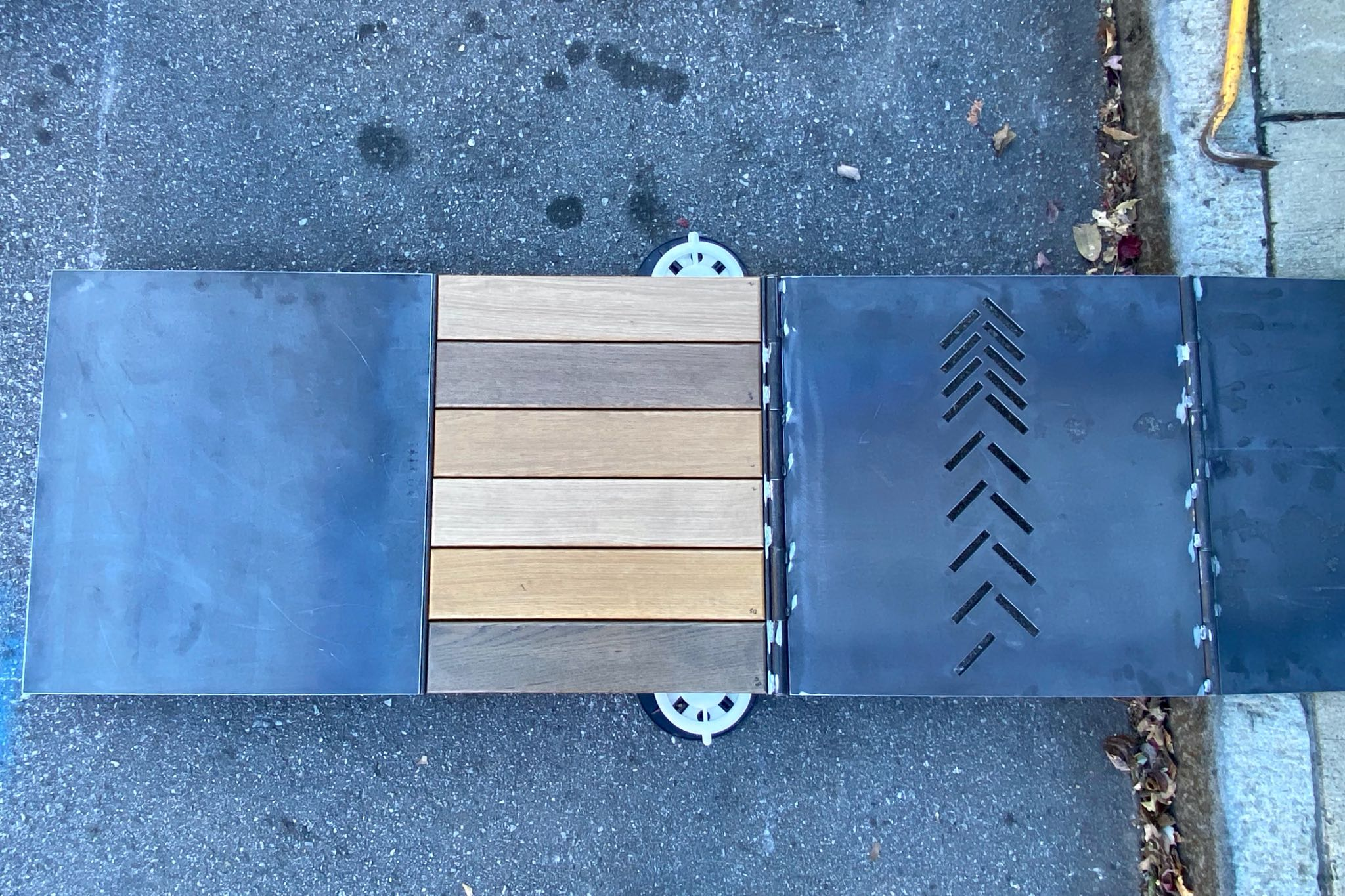 Prototype for the Cherokee Parklet made of metal and wooden planks.