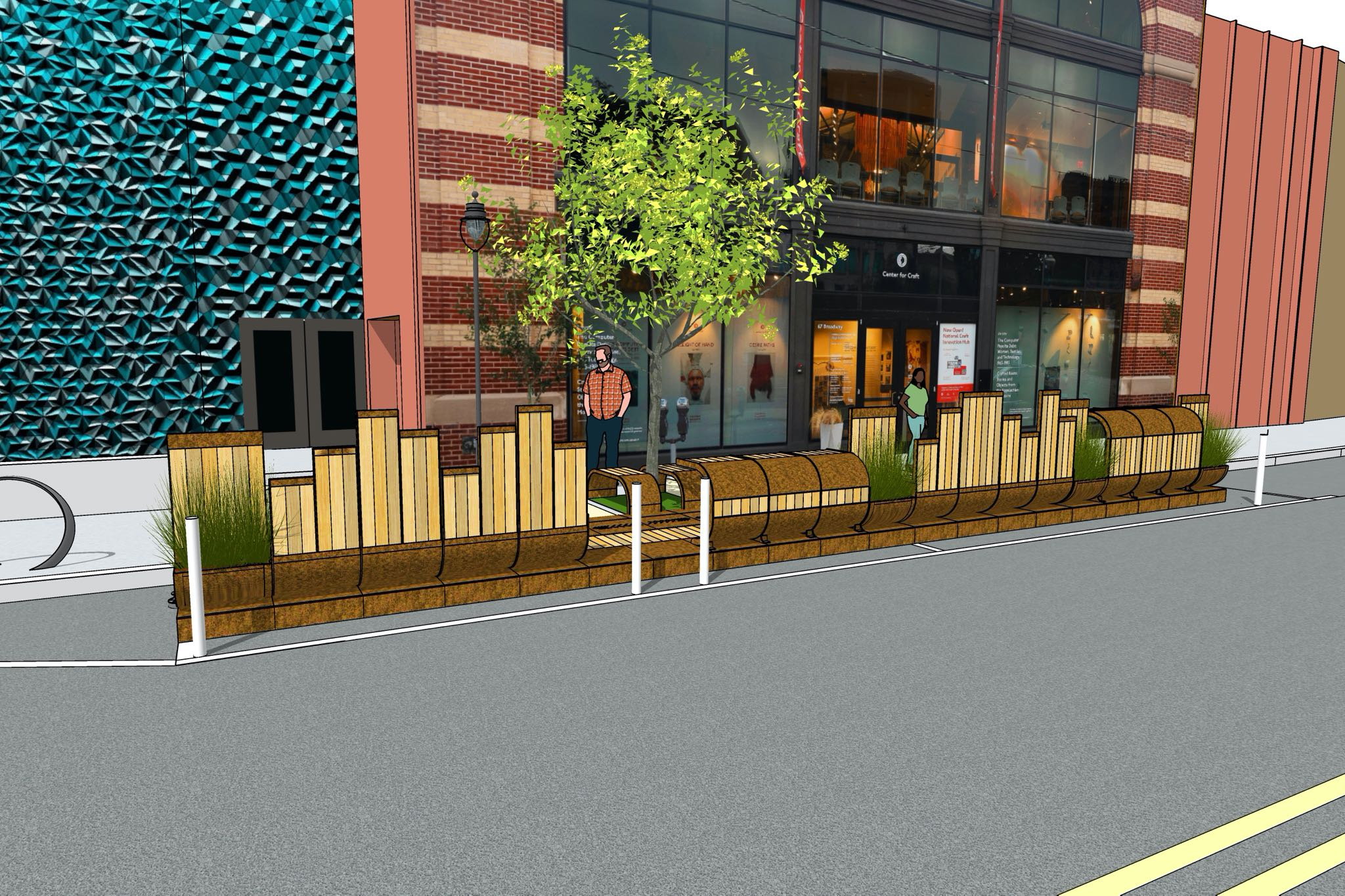 A render of the Cherokee Parklet, The Basket, in front of the Center for Craft, with green bushes, a tree, and white oak planks.
