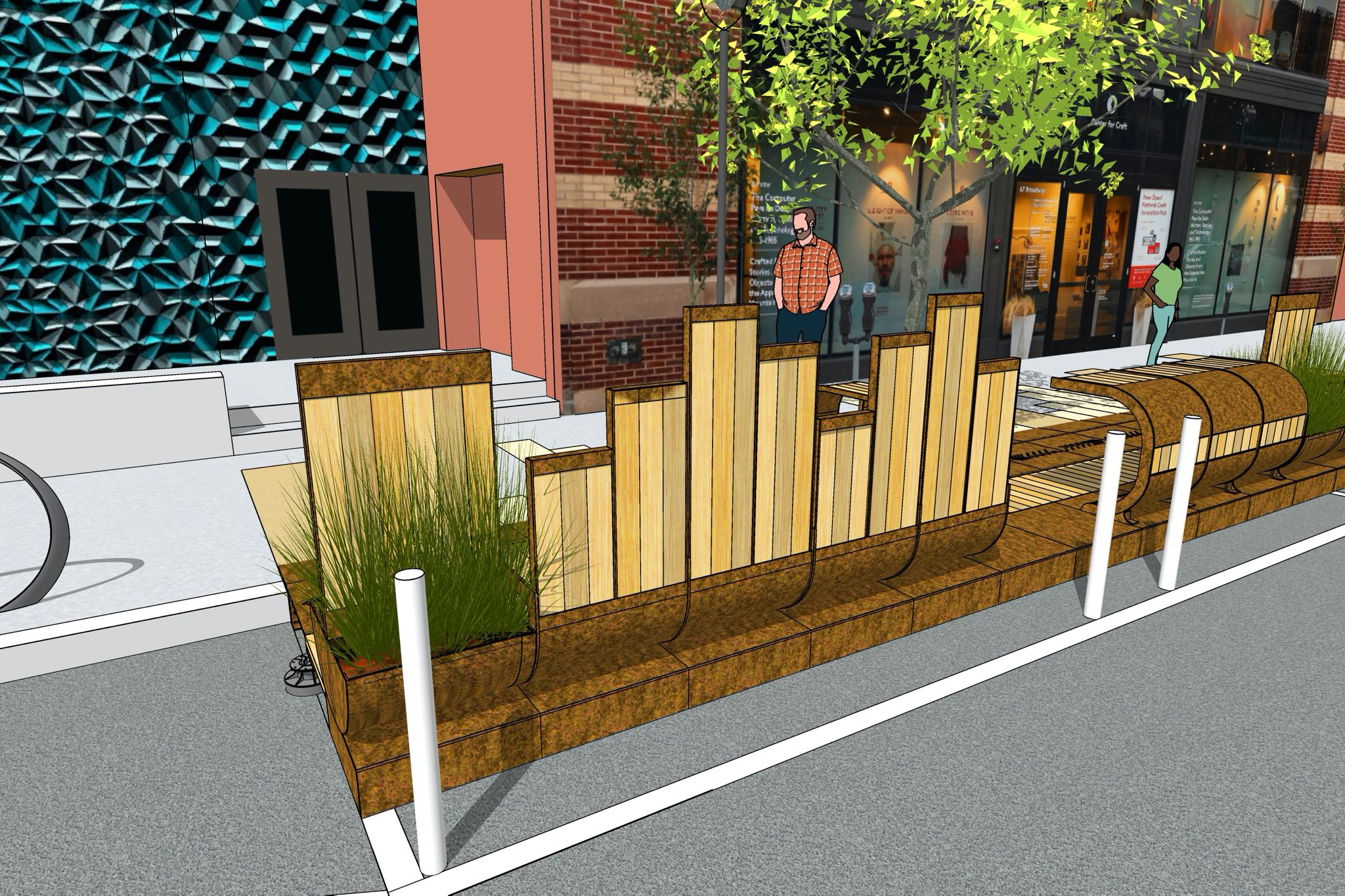 A render of the Cherokee Parklet, The Basket, in front of the Center for Craft, with green bushes and white oak planks.