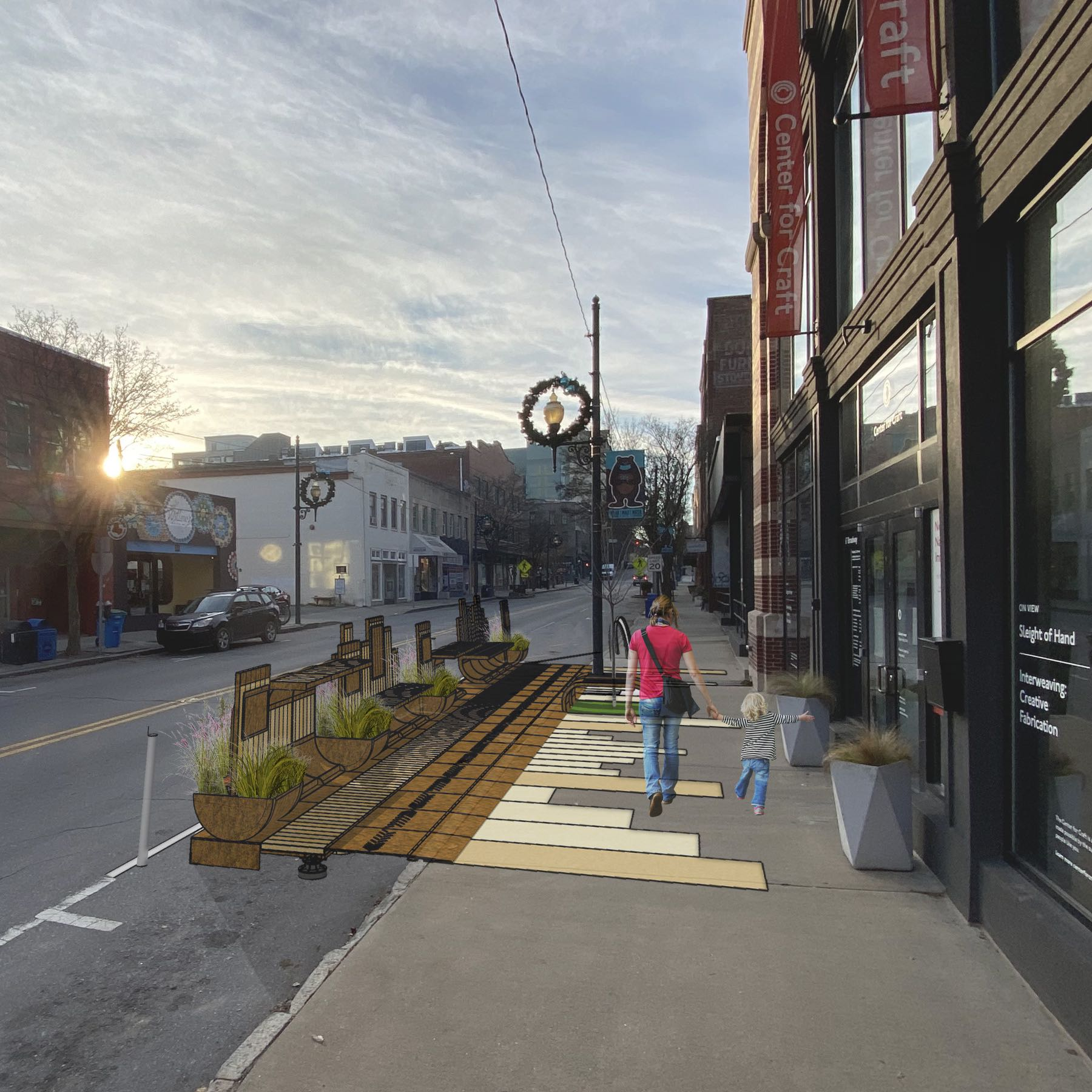 Render of the Cherokee Parklet with mother and small child walking along it.