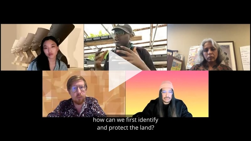 """Five people in a video chat on a screen with the caption, """"How can we first identify and protect the land?"""""""