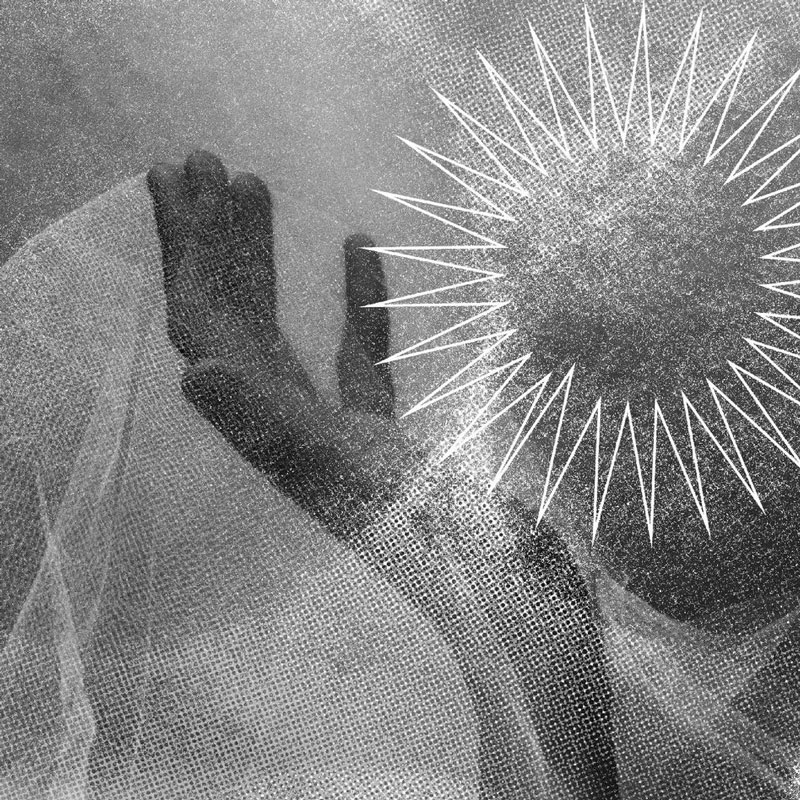 a black and white image of a Black hand holding a white gossamer-like veil, there is a sun on the right side of the image that casts a dream-like haze, like as if viewing through rain or fog.