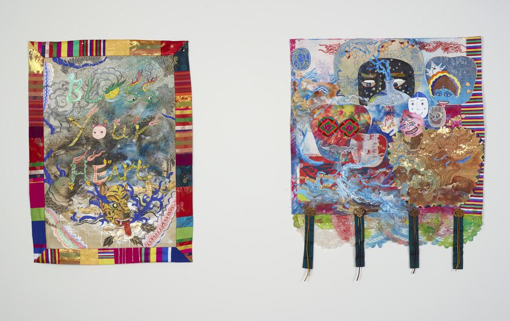 jiha moon artist wall tapestry shapeshifters center for craft exhibition asheville north carolina