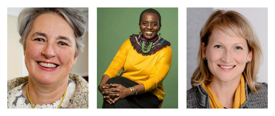 Three portraits of women, side-by-side. All professional headshots.