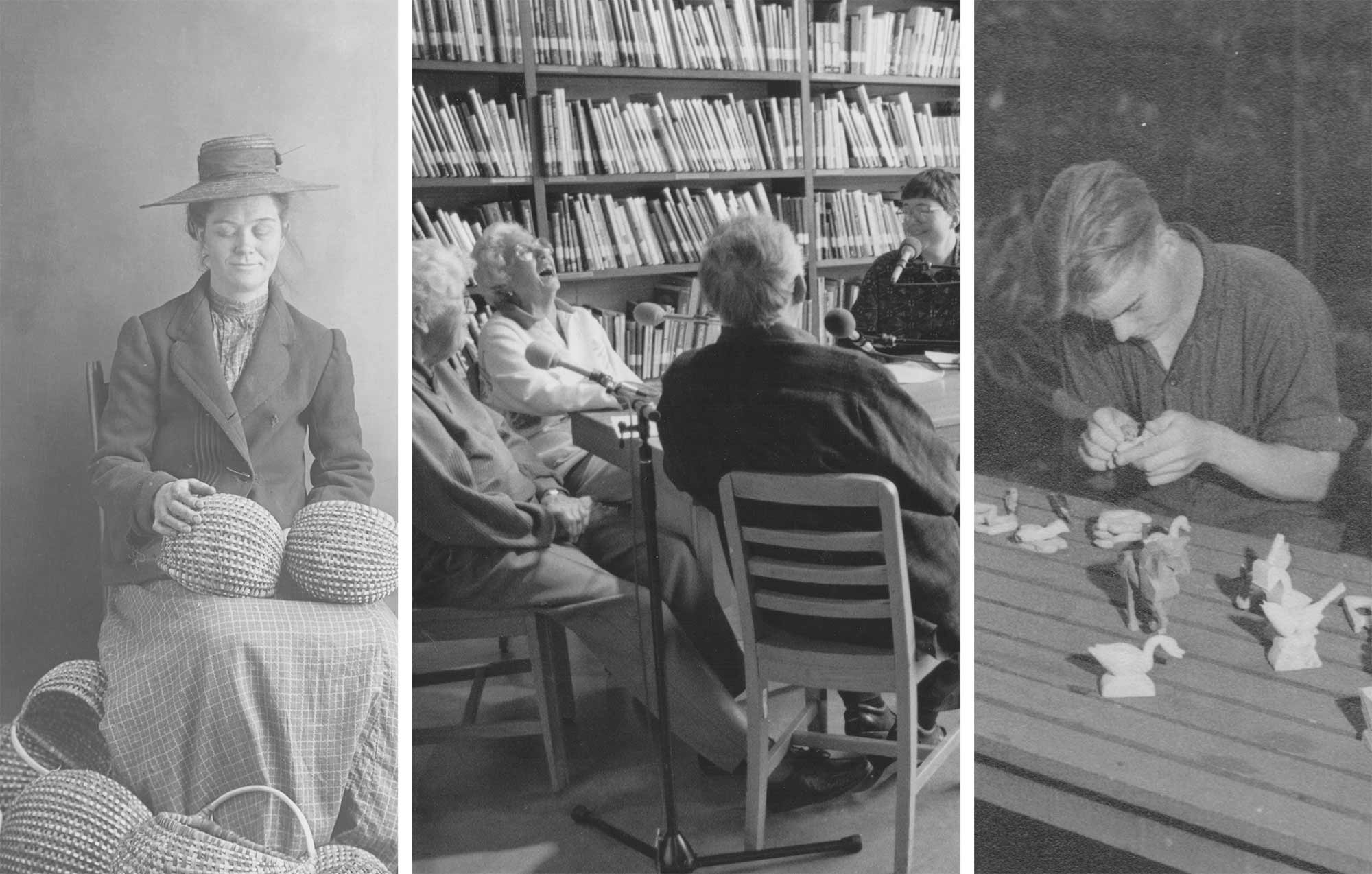 three black and white photos side-by-side including old photos of crafters with baskets, carving wood, conversing and laughing