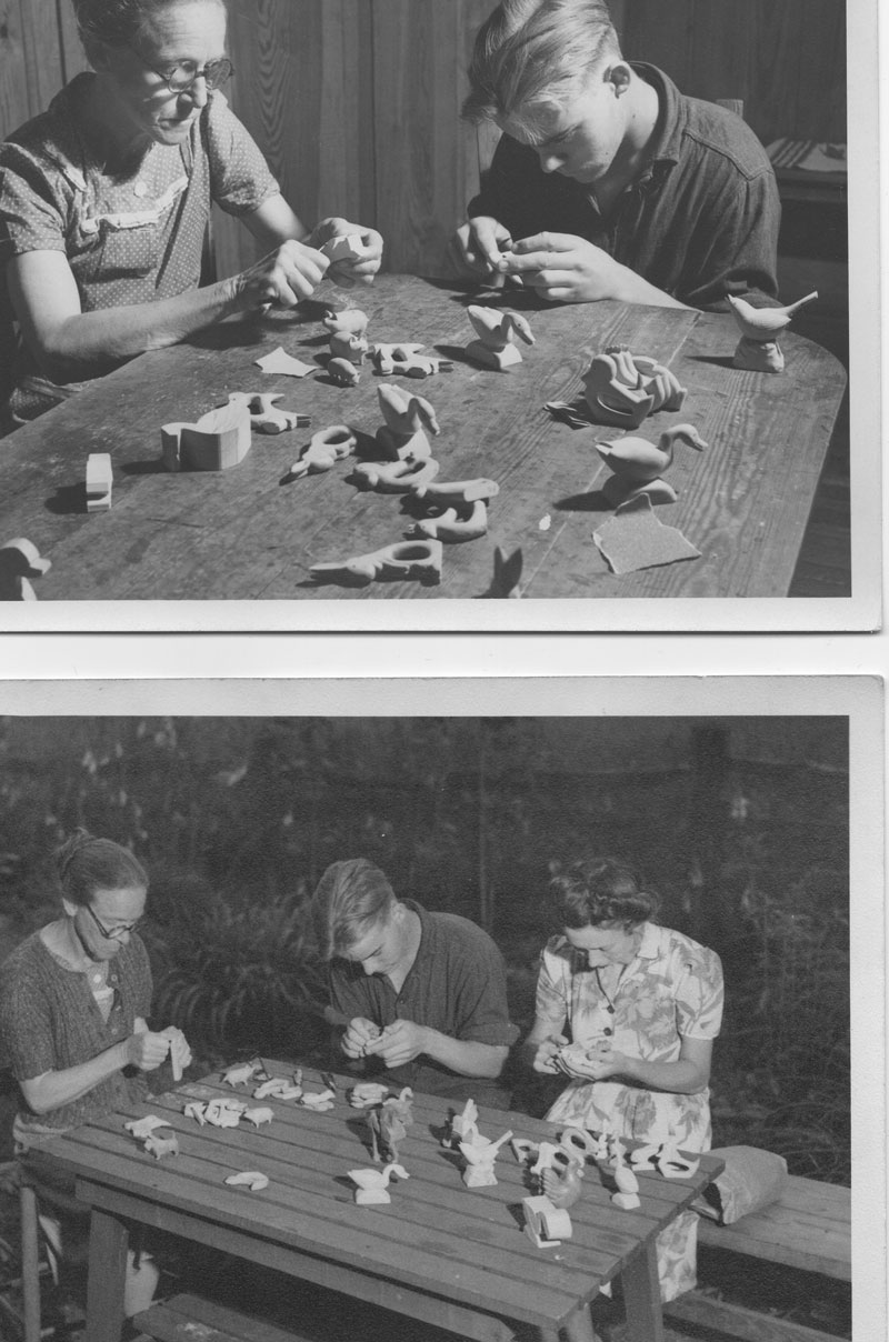 Two images, one above the other. Black and white. Two people carving wood in each photo.