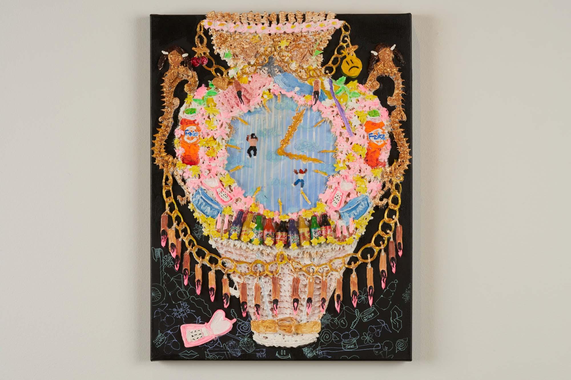 """Image of acrylic painting by Yvette Mayorga, """"Vase of the Century 3""""."""