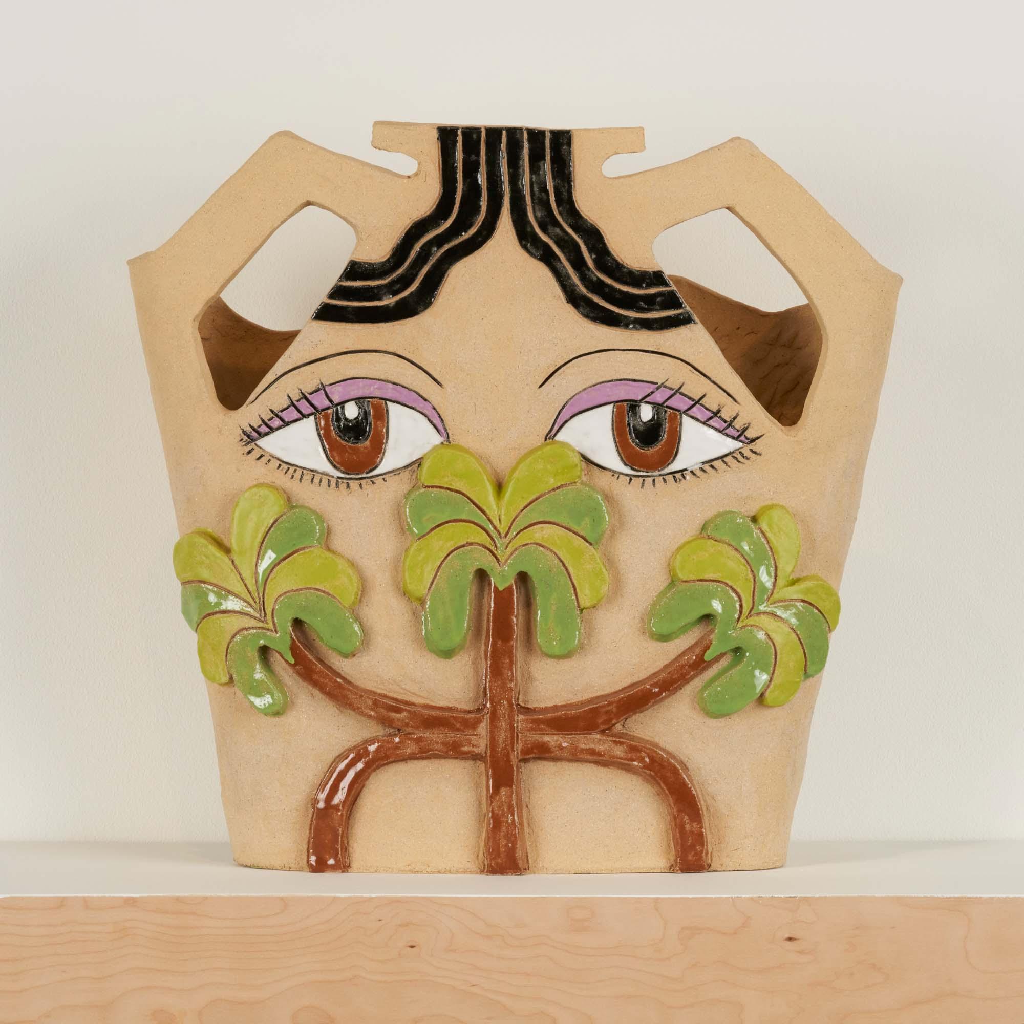 "Image of ceramic vessel on wall shelf, titled ""Puabi Palms Pot"" by Maryam Yousif."