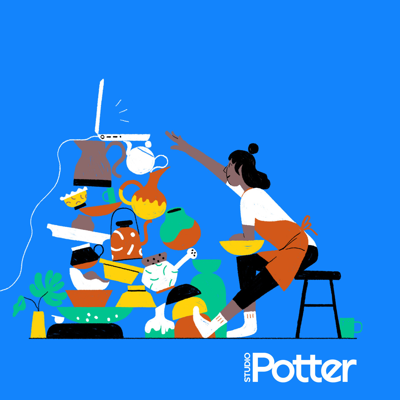 graphic of a potter sitting at a wheel in front of a tall stack of pots with a laptop at the top of the pile and she's reaching for the laptop from her chair