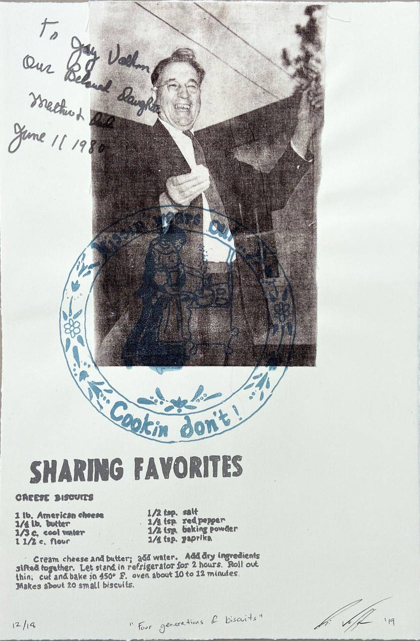 a scanned sheet of paper including an image of a man in a black and white photo smiling and looking off-screen, surrounded by text and handwriting.