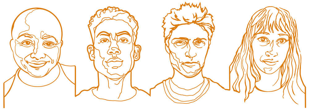 gold line illustration of four faces side by side