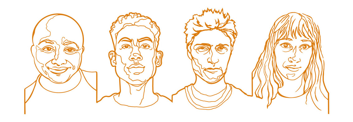 line drawn illustration in all gold of four portraits, all connected through the same line, over white.