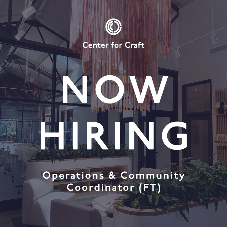 "image graphic reading ""now hiring"" with center for craft cowork space in the background"