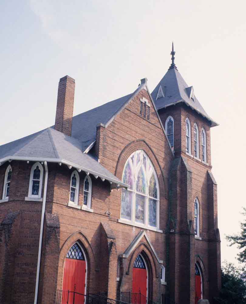 photo of a chapel with red brick