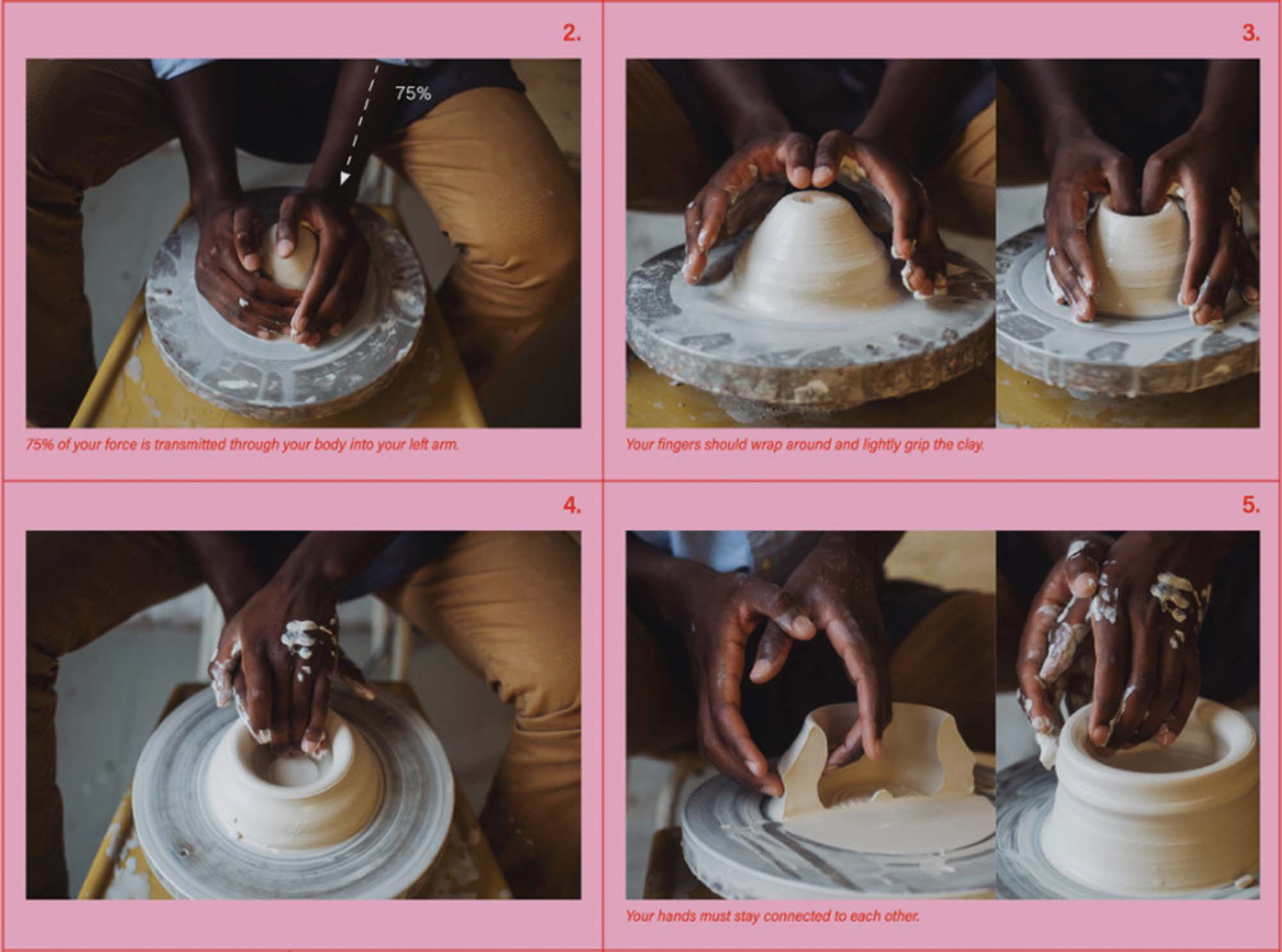 step by step picture guide to throwing on the potters wheel