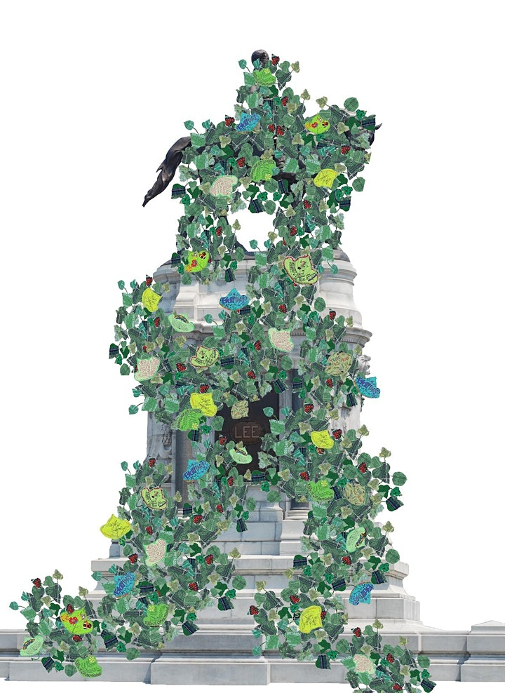 collage with leaves growing on a US monument