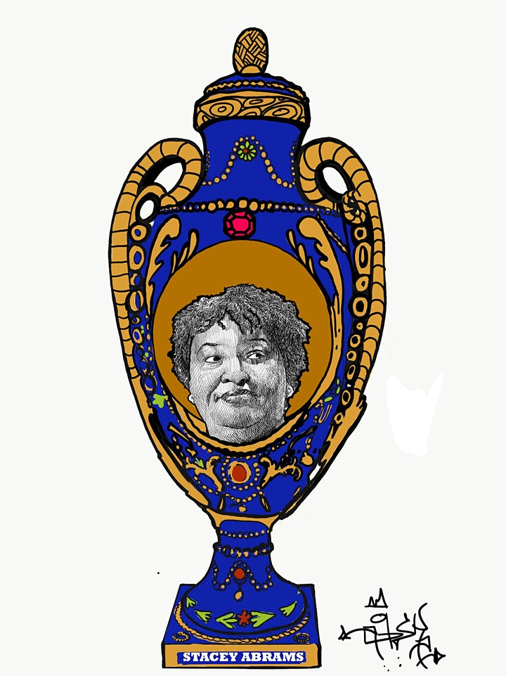 a drawn image of a ornate blue and gold vase with a black and white sketch-like image of stacey abrams in the center