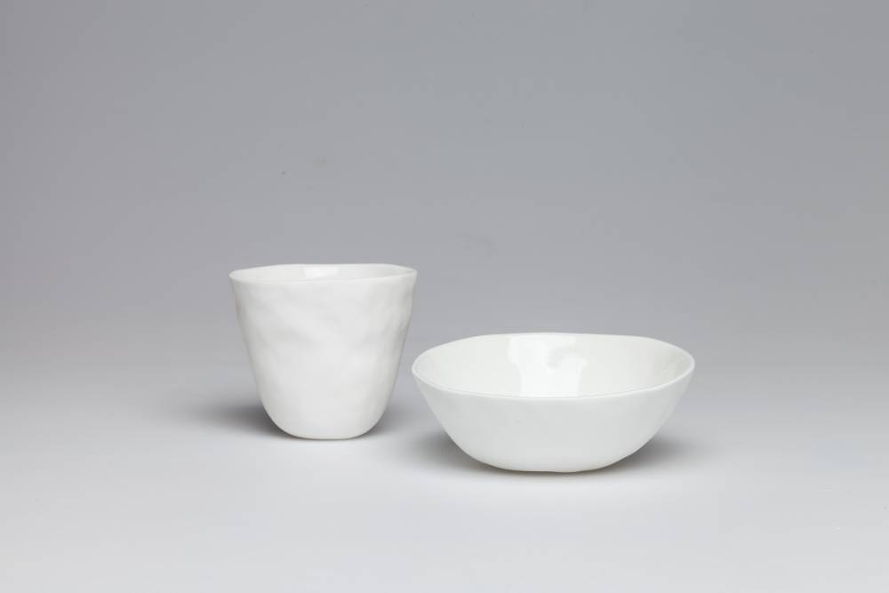 Bone china bowl and cup. Photo by Gregg Moore.