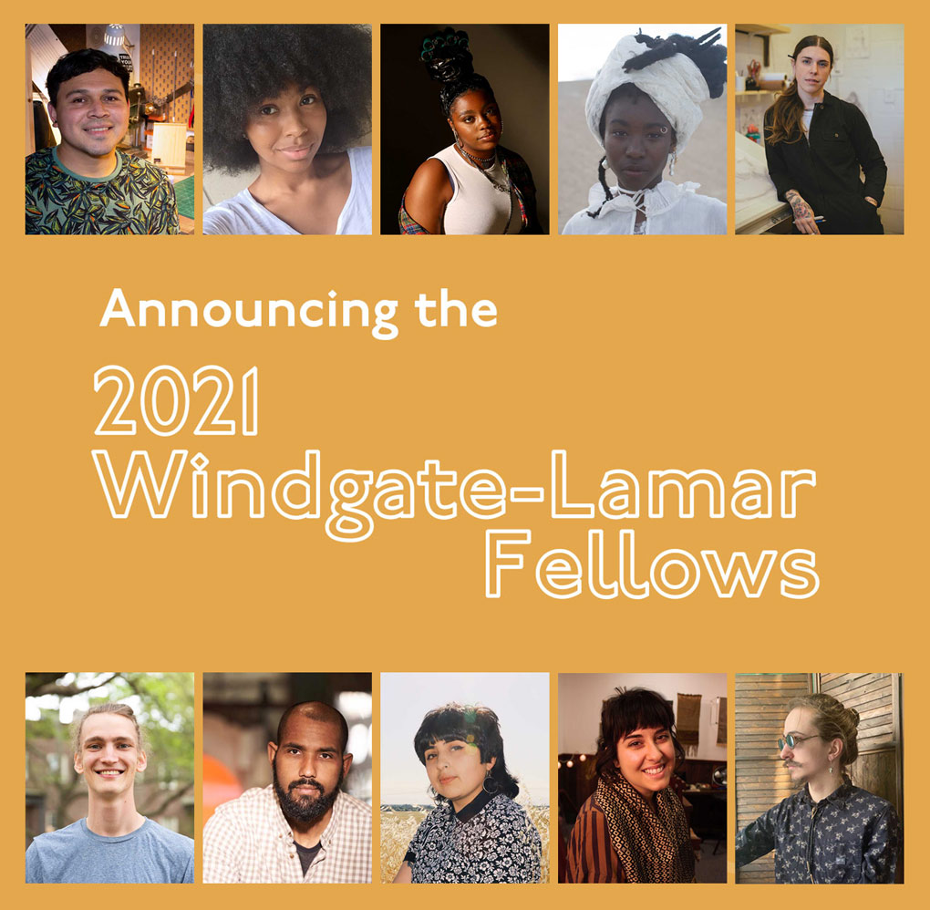 """A graphic reading """"Announcing the 2021 Windgate-Lamar Fellows"""" with ten headshots of each fellow."""