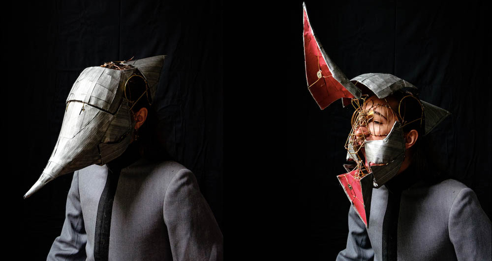 Two images of a man wearing a mask with a black background.
