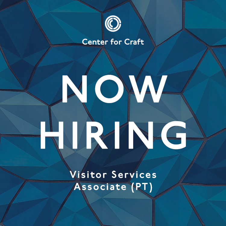 """image graphic reading """"now hiring"""" with center for craft cowork space in the background"""