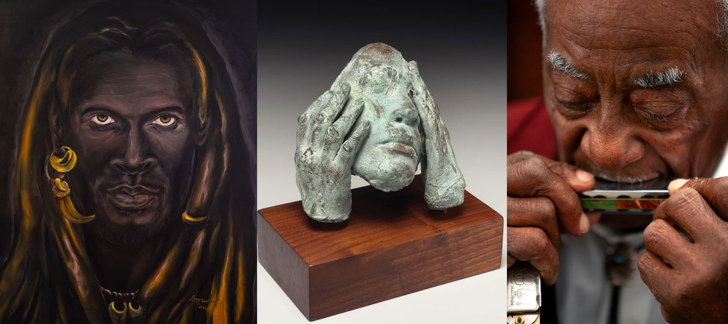 three images of works from Black in Black on Black Exhibition at the Center for Craft