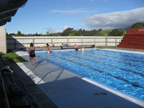 High school students in New Zealand enjoying the schools pool.