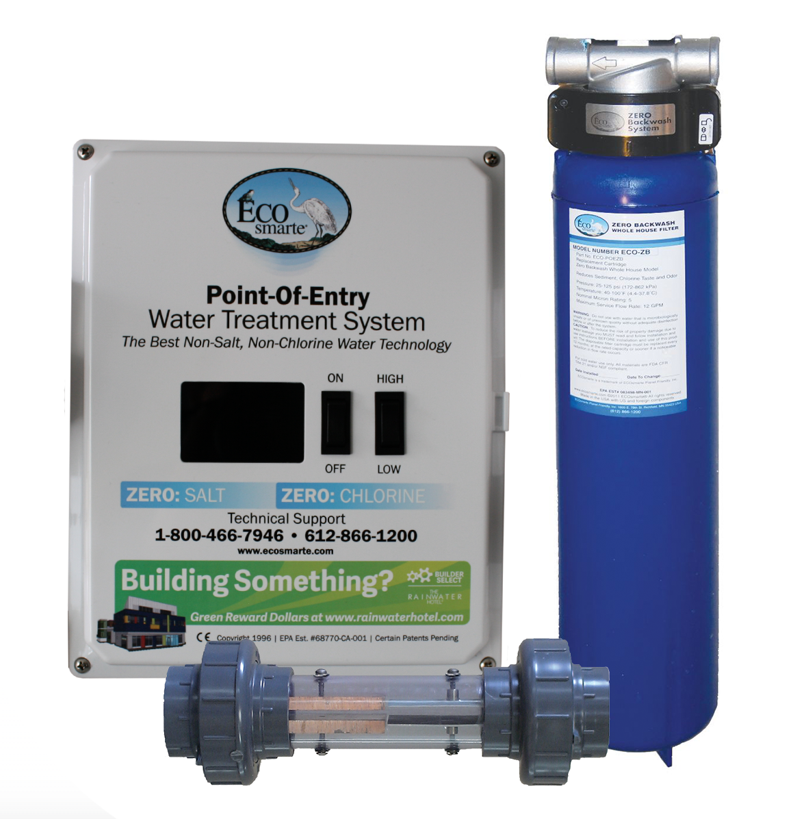 ECOsmarte Point Of Entry bundle including the control panel, a tank, and a chamber