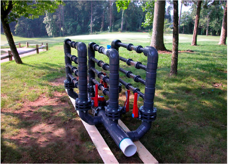 Setup of the ECOsmarte system used on a golf course