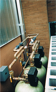 Top view of three ECOsmarte tanks used in an ECOsmarte Commercial System for Business