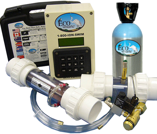 Programmable pool kit including: Test Kit, Control Panel, Chamber, and Carbon Dioxide Tank.