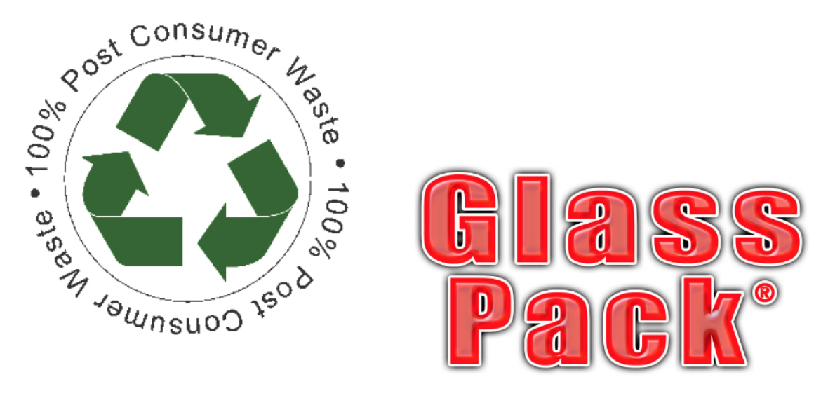 100% Post Consumer Waste Certificate and Glass Pack logo